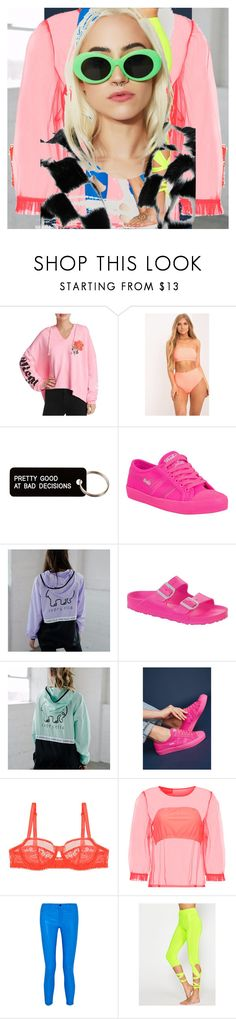 """Untitled #2110"" by bucketlistdiary on Polyvore featuring Wildfox, Various Projects, Gola, Birkenstock, Huit, Paskal, J Brand and Petals and Peacocks"