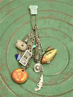 Found Object Pin with Fish, Bottle Cap and More