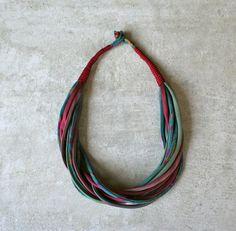 Silk  necklace/ upcycled / vintage /color /handmade/vintage neckties/unique piece/ecofriendly