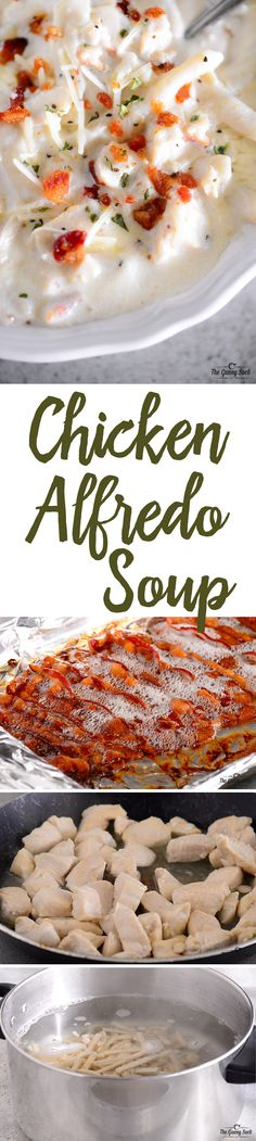 Chicken Alfredo Soup is homemade comfort in a bowl. With chicken, alfredo sauce, noodles, and bacon, this soup is perfect for a family dinner on a cold winter night. #Reames #HomemadeGoodness #ad