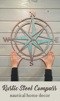 Rustic steel compass wall hanging | nautical sailing home decor | ocean themed wall art | #affiliate