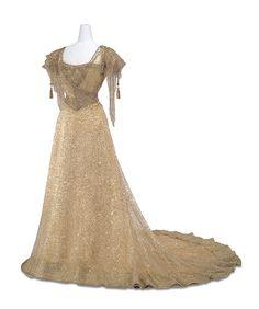 Evening dress worn by Queen Alexandra of the United Kingdom, c. 1908, at the Bunka Gakuen Costume Museum