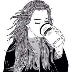 Image via We Heart It #blackandwhite #drawing #girl #grunge #outline #sketch