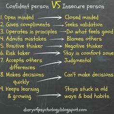 Confidence person vs. Insecure Person: an infographic to understand the difference and get the most out of life. For a huge list of tips to improve yourself check here: https://mind-globe.com/best-tips-to-improve-yourself/