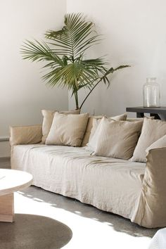 interesting linen sofa slipcovers: amazing-linen-sofa-slipcovers-textured-linen-sofa-slipcover-indoor-palms-sofa-covers-cream-color-with-cushion New Interior Design, Interior And Exterior, Room Interior, Linen Couch, Mcm House, Living Spaces, Living Room, Sofa Covers, Slipcovers