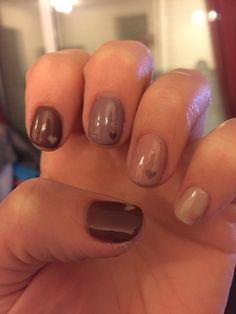Brown nails with a heart