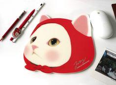 猫の顔型マウスパッド 【赤ずきん】 choochoo