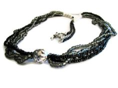 Black Silver Grey 5 Strand Beaded Necklace by SLKreation on Etsy, $30.00