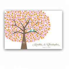 Wedding Guest Book Tree - Unique Wedding Guest Book Alternative for 300 Guests - Pink and Orange Wedding