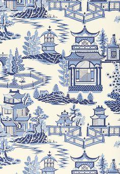 Wallcovering / Wallpaper | Nanjing in Porcelain | Schumacher