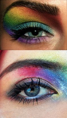 Glittery rainbow eye make up attempt. Rainbow Eyes, Eye Make Up, Photo And Video, How To Make, Beauty, Instagram, Makeup Eyes, Cosmetology, Eye Makeup
