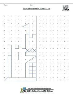free printable geometry worksheets 1 line symmetry castle, week 2 Symmetry Worksheets, Symmetry Activities, Art Worksheets, Math Activities, Printable Worksheets, Visual Motor Activities, Visual Perceptual Activities, Drawing Activities, Worksheets For Kids