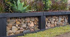 01 Fabulous Gabion Fence Design for Garden Landscaping Ideas - DoitDecor Backyard Fences, Garden Fencing, Backyard Landscaping, Landscaping Ideas, Pool Fence, Garden Sheds, Sloping Backyard, Sloping Garden, Gnome Garden