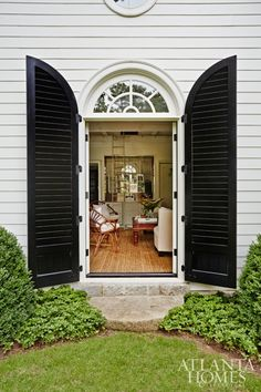Shutters for an exterior door! Wonderful. Dutch Colonial pool house designed by D. Stanley Dixon for clients in Atlanta's Buckhead neighborhood
