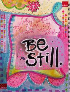 Marcia Beckett: Be Still Kunstjournal Inspiration, Art Journal Inspiration, Journal Ideas, Christian Inspiration, Altered Books, Altered Art, Moleskine, Art Journal Pages, Art Journaling