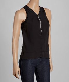 Loving this Black Zip-Front Layered Top on #zulily! #zulilyfinds