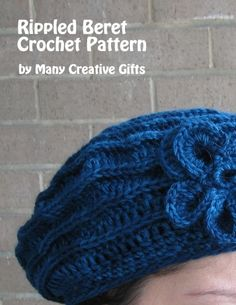 """""""Rippled Beret Crochet Pattern"""" by Phyllis Serbes; she has published her patterns at XinXii. Crochet Beret, Crochet Braids, Head Bands, Creative Gifts, Step By Step Instructions, Book Covers, Crochet Patterns, Knitting, How To Make"""