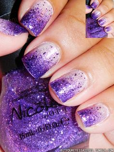 Glitter nail polish progressively thicker toward the nail tips.