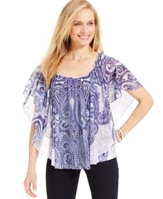 Jm Collection Printed Poncho Top