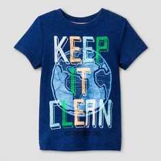 Teach him to take care of the planet with the Toddler Boys' Graphic T-Shirt Cat & Jack™ - Oxygen Blue. This fun toddler boys' t-shirt is navy with an earth graphic print on the front and back. Plus, it's guaranteed. Cat & Jack is made to last, but if anything doesn't, you can return it up to 1 year later with your receipt.