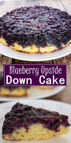 Blueberry Upside Down Cake - Cake Recipes - Blueberry Fruit Recipes, Baking Recipes, Sweet Recipes, Cake Recipes, Dessert Recipes, Yummy Recipes, Recipies, Cupcakes, Cupcake Cakes