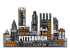 """Original artwork using words to describe """"CITY OF PITTSBURGH"""" -- Show off your Pittsburghese in your home with this print that details the many words for Pittsburgh, PA. To have a distinction from other subway art my goal is to showcase at least 50 words (though often times this can be over 100) without repeating except with common words like Pittsburgh versus The 'burgh. Come visit the Lexicon Delight Etsy store!"""