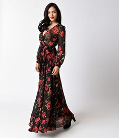 e3fafeea1d9 1970s Style Black   Red Floral Print Long Sleeve Maxi Dress Fall Floral  Dress