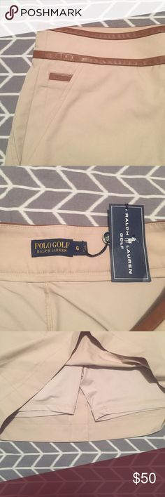 • POLO GOLF • NWT • skirt with leather accents NWT. Polo Golf skirt. Size 6. Tan with leather accents. Multiple pockets & shorts underneath. Super cute & classy for a day on the course 🏌 Polo by Ralph Lauren Skirts