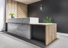 reception - office - reception desk - stone - timber - screen - inspiration