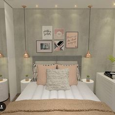 45 Ideas bedroom decoration lights small rooms for 2019 Bedroom Lamps Design, Small Bedroom Designs, Small Room Design, Bedroom Lighting, Bedroom Chandeliers, Trendy Bedroom, Modern Bedroom, Contemporary Bedroom, Decor Room