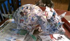Paper mache dinosaur pinata in the works. The kids LOVED helping with this one.