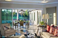 A wall of glass sliders open the Great Room to the covered patio.