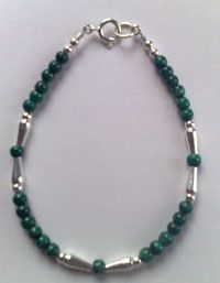 Ancient Egyptian jewellery: Seshen Bracelet, malachite and sterling silver lotus bead bracelet