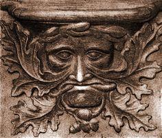 Etching of Vendome Green Man misericord - Green Man - Wikipedia, the free encyclopedia