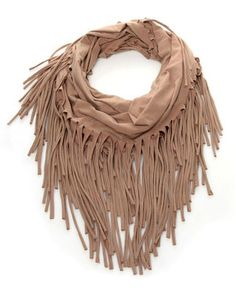 Mocha Fringe Infinity Scarf from Esley