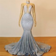 Glamorous Halter Sleeveless Backless Mermaid Floor-Length Prom Dress | Yesbabyonline.com