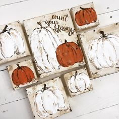 pumpkin painting by artist Haley Bush, Farmhouse Pumpkin Décor, Fall Art Autumn Painting, Autumn Art, Pumpkin Painting, Pumpkin Canvas, Pumpkin Art, Halloween Painting, Autumn Crafts, Fall Projects, Painted Pumpkins