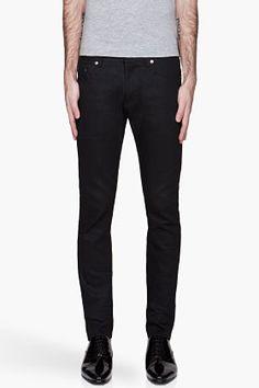 SAINT LAURENT Black Raw denim slim jeans