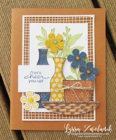 Basket of blooms Stampin Up Lyssa punch blossom bloom class tutorial techniques layout cheer envelope Gold Foil Paper, Sympathy Cards, Scrapbook Supplies, Stamping Up, Greeting Cards Handmade, Pattern Paper, Diy Cards, Homemade Cards, Stampin Up Cards