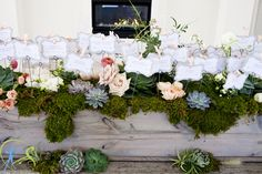 escort card succulent garden display by Flowers by Semia
