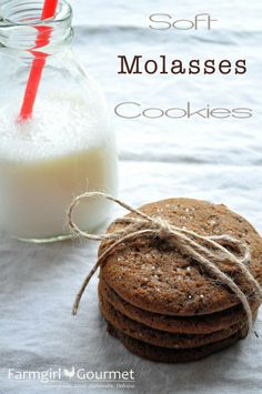 Farmgirl Gourmet: Delicious Recipes for the Home Cook.: Soft Molasses Cookies - SRC by Gourmet Cookie Brownie Bars, Cookie Desserts, Just Desserts, Cookie Recipes, Dessert Recipes, Cupcake Recipes, Baking Recipes, Fall Cookies, No Bake Cookies