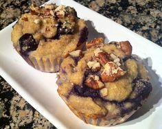 Whole 30, paleo blueberry banana nut muffins made with almond and coconut flour