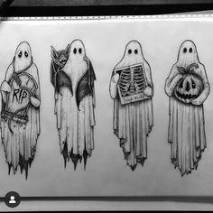 Art Drawings Sketches, Tattoo Drawings, Ghost Tattoo, Spooky Tattoos, Tatuagem Old School, Matou, Tattoo Flash Art, Creepy Art, Future Tattoos