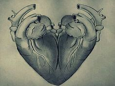 Drawing of two hearts sewn together