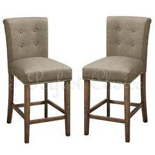 """2 PC Dining High Counter Height Side Chair Bar Stool 24""""H Blended Linen Slate"""