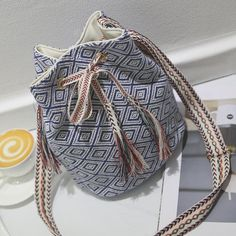 Ethnic Style Women's Shoulder Bag With Tassels and Geometric Pattern Design