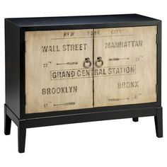 Bring rustic-chic appeal to your living room or den with this hand-painted cabinet, showcasing 2 doors and a vintage-inspired sign motif.
