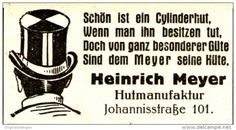 Original-Werbung/ Anzeige 1926 - HÜTE HEINRICH MEYER - OSNABRÜCK / MOTIV…