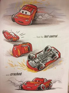Somehow the cuteness of this makes this scene even sadder? Though awww, I love that blowing out a tire and actually crashing into anything appears to be a bit Too Much for a Little Golden Book, so. Cars Cartoon Disney, Disney Cars Movie, Disney Cars Party, Car Party, Car Drawings, Disney Drawings, Cute Disney, Baby Disney, Car Animation