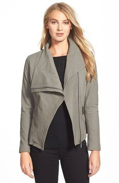 Drape-Front Leather Jacket in Mink
